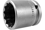 5436-D Apex 1 1/8'' 12-Point Thin Wall Standard Socket, 1/2'' Square Drive